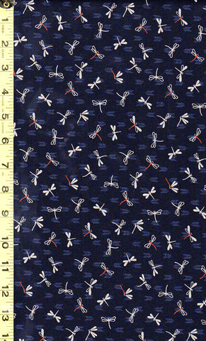 *Japanese Sevenberry - Kasuri Collection - Small Tan Dragonflies - 88227D3-4 - Indigo