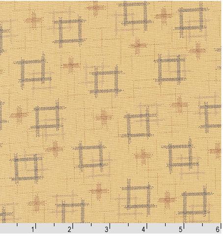 *Japanese - Sevenberry Kasuri Collection - Floating Squares & Crosses - Natural