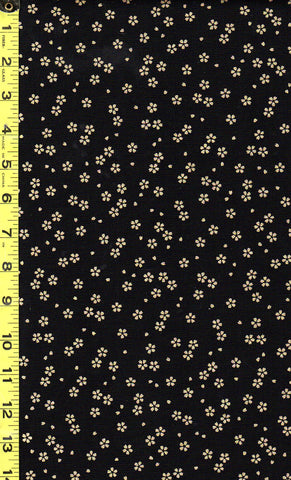 *Japanese - Sevenberry Yakata Metallic Collection -  Sakura Blossoms - Black & Gold Metallic
