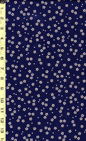 *Japanese - Sevenberry Yakata Metallic Collection -  Sakura Blossoms - Navy & Gold Metallic