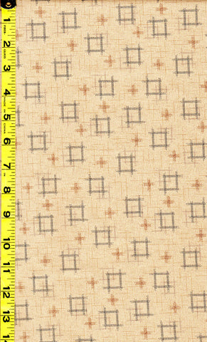 *Japanese - Sevenberry Kasuri Collection - Floating Squares & Crosses - Natural (Tan)