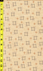 *Japanese - Sevenberry Kasuri Collection - Floating Squares & Crosses - SB-88229D1-1 - Natural (Tan)