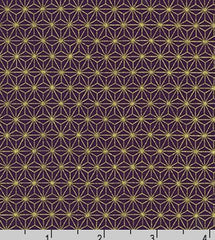 Japanese - Sevenberry Yakata Metallic Collection -  Asanoha - Purple & Gold Metallic