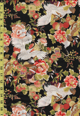 *Asian - Sevenberry Flying Cranes & Peonies - SB-850325-1-1 - Black