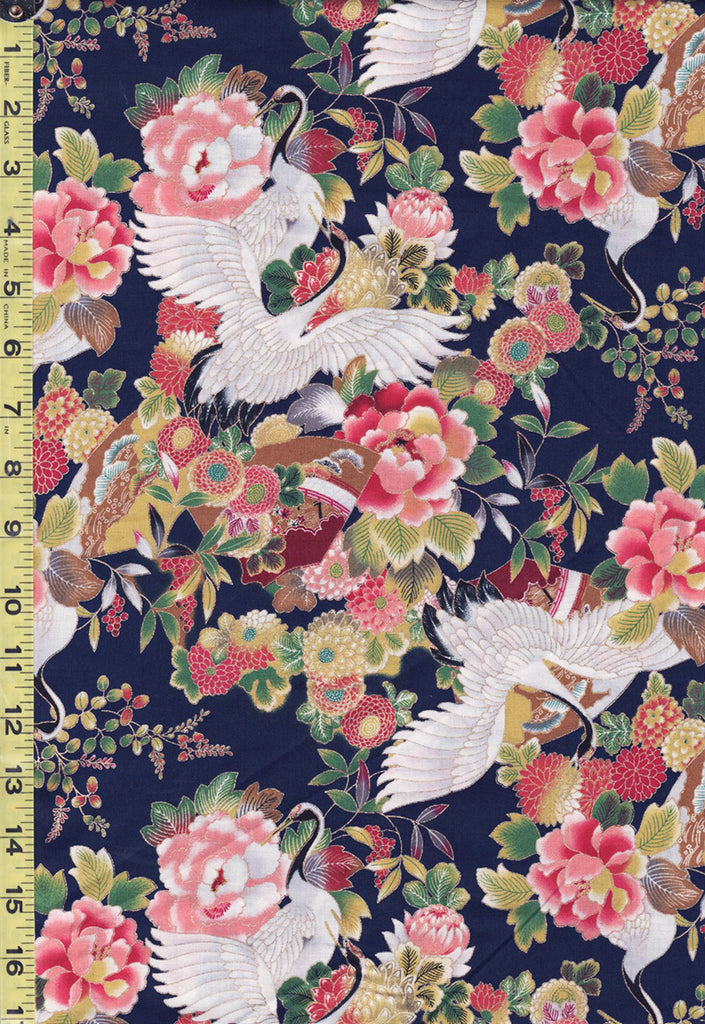 *Asian - Sevenberry Flying Cranes & Peonies - SB-850325-1-3 - Navy