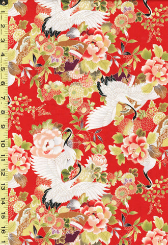 *Asian - Sevenberry Flying Cranes & Peonies - SB-850325-1-2 - Red