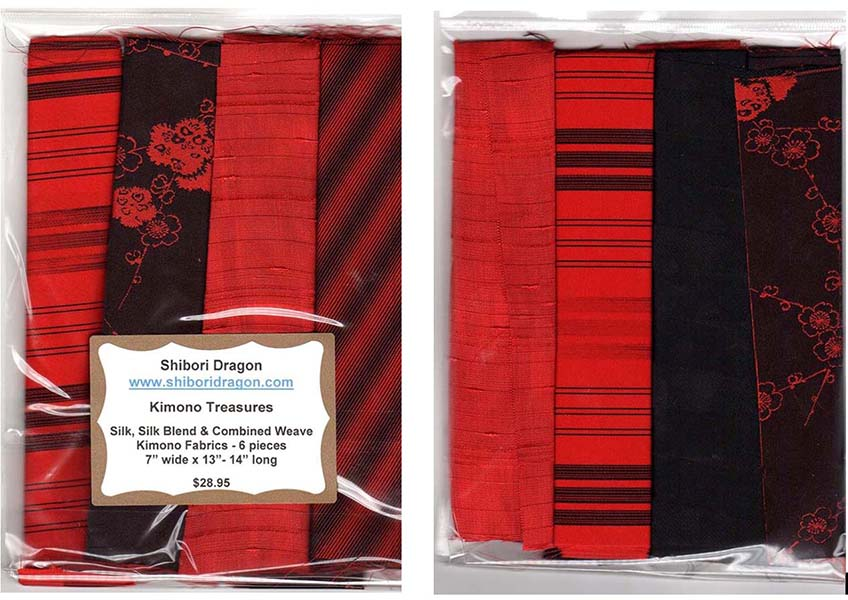 Kimono Treasures Silk Pack - 6 Pieces - Red - Black