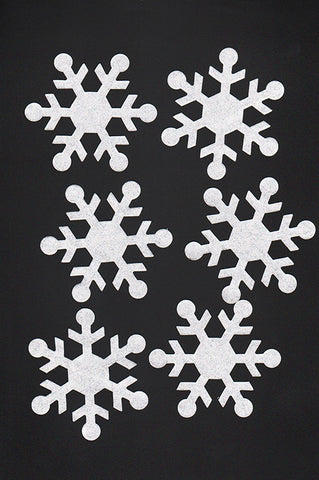 Fabric Fun Shapes - Shimmery Snowflakes - Silver Glitter