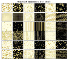 "*Metallic Mixer Pre-Cut Strips - Black & Cream Gold Metallic Mixture  - 2 1/2"" Strip Pack - 40 Strips"