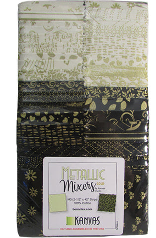 *Metallic Mixer Pre-Cut Strips - Black & Cream Gold Metallic Mixture  - 2 1/2