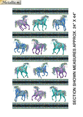 *Novelty - Horsen Around - Galloping Horse Stripe - 6851M-09 - White - ON SALE