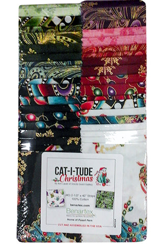 Pre-Cut Strips - Cat-I-Tude Christmas - 2 1/2