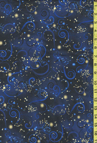 Asian Novelty - Dragonfly Dance - Swirling Skies - Navy & Black