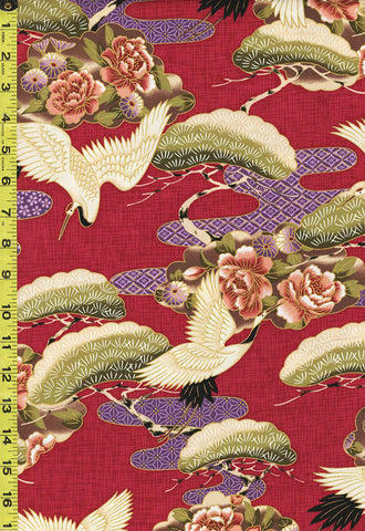 *Asian - Cranes, Pines & Peony Floral Clouds - TP-501-215 - Red