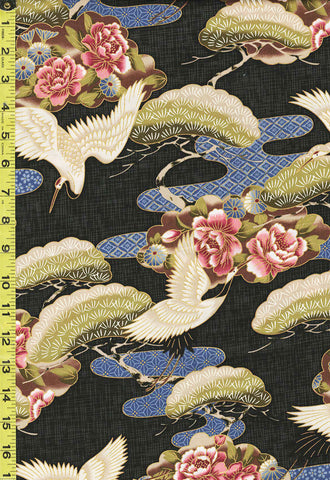 *Asian - Cranes, Pines & Peony Floral Clouds - TP-501-215 - Black