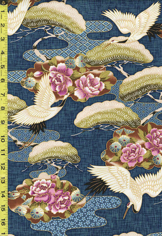 *Asian - Cranes, Pines & Peony Floral Clouds - TP-501-215 - Navy