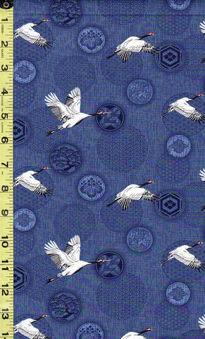 *Asian - Small Flying Cranes & Japanese Crests - Navy