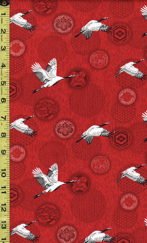 *Asian - Small Flying Cranes & Japanese Crests - Red