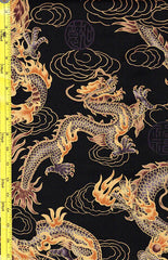 Asian - Firey Dragons - Large Scale - Dark Gold & Taupey Brown - Black