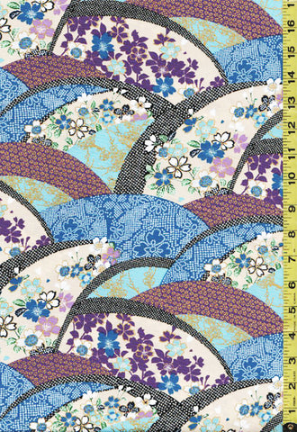 *Asian - Floral Arcs with Faux Shibori - EM-20-01 - Blue & Purple