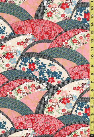 *Asian - Floral Arcs with Faux Shibori - EM-20-01 - Red & Teal