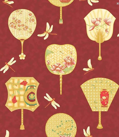 Asian Fabric - Leesa Chandler Summer Palace - Large Scale Chinese Fans & Dragonflies - 0019-1 - Dark Red