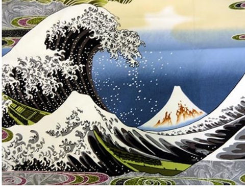 *Asian - Hokusai Wave - Grey - PANEL
