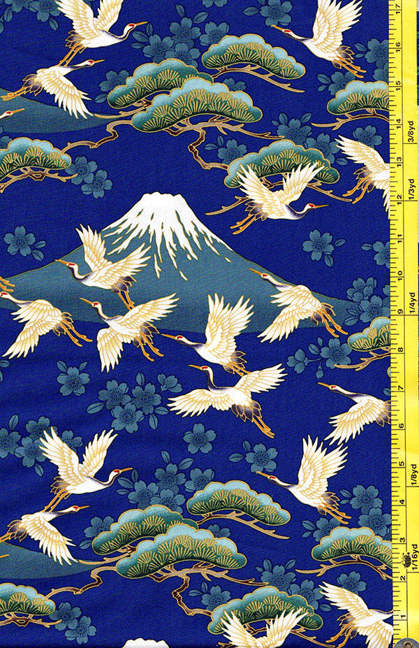 *Asian - Flying Cranes, Cherry Blossoms, Pines & Mt. Fuji - Blue