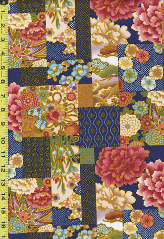 *Asian - Floral Patchwork & Temari Balls - NS-488 - Navy