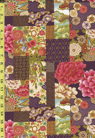 *Asian - Floral Patchwork & Temari Balls - NS-488 - Purple