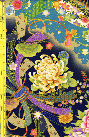 *Asian - Noshi Ribbons & Floral Fans - Navy