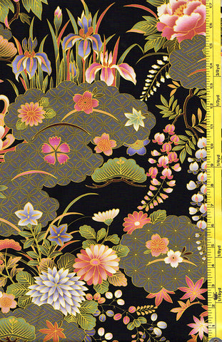 *Asian - Floral Garden with Japanese Motif Clouds - Black