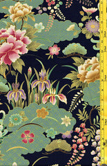 *Asian - Floral Garden with Japanese Motif Clouds - Navy