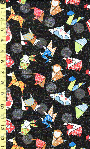 *Asian - Novelty - Colorful Origami - Black