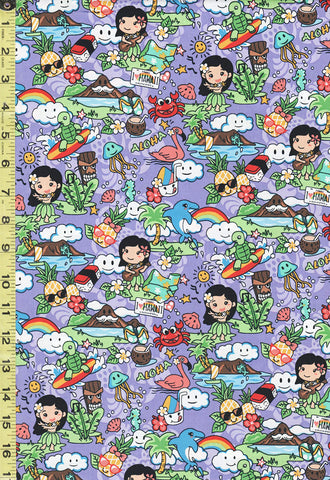 *Tropical Novelty - Hawaiian Vacation - Hula Girls, Surfing Turtles & More - YU-20-59 - Purple-Lavender