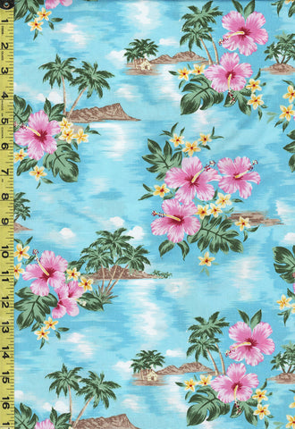 *Tropical - Tropical Island and Hibiscus - TP-ZXQ-05-294 - Blue