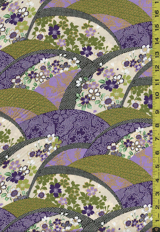 *Asian - Floral Arcs with Faux Shibori - EM-20-01 - Purple & Green