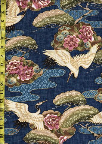 *Asian - Cranes, Floral Clouds & Pines - Blue