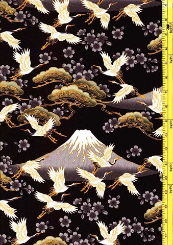 *Asian - Flying Cranes, Cherry Blossoms & Mt. Fuji - Black