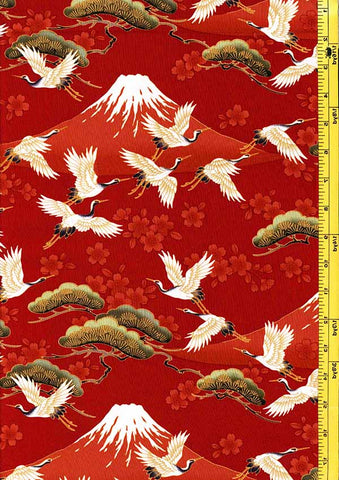*Asian - Flying Cranes, Cherry Blossoms & Mt. Fuji - Red