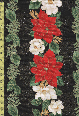 Holiday - Timeless Treasures - Poinsettia Stripe - CM7803 - Black