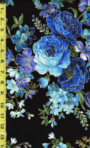 *Asian - Enchantment Florals & Brilliant Peonies - CM5871 - Black