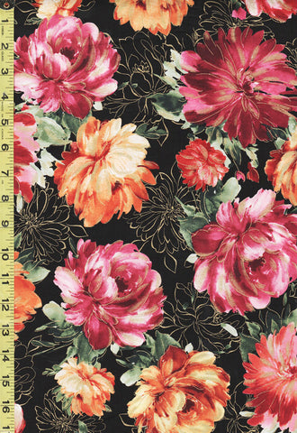 Asian - Colorful Large Floating Peonies - Fleur-CM8280 - Black