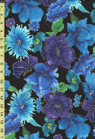 *Asian - Floral Night - Night CM6095 - Black,  Blue & Purple