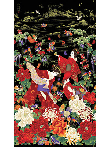 *Asian - Koko Collection - Geisha Dancing in the Garden - PANEL