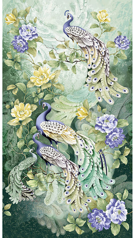 *Asian -  Peacocks & Peonies - CM6458 - Sage- PANEL