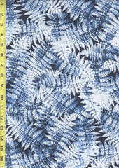 Floral Fabric - Winter Frosted Ferns - Blue & Silver Metallic