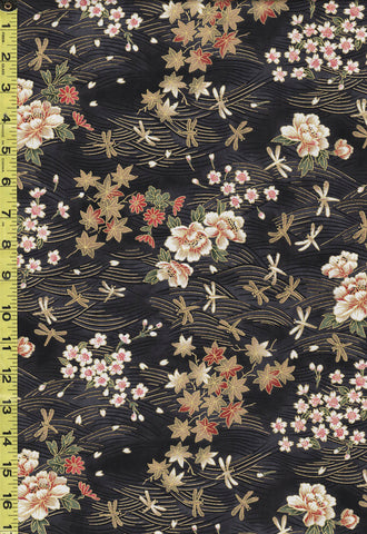 *Asian - Cherry Blossoms, Maple Leaves & Dragonfly Waves - TX-19-22 - Black