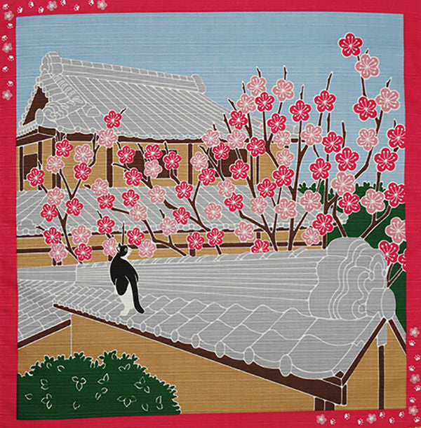 Furoshiki  - Tama Cat on Roof with Plum Blossoms