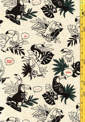 Japanese Novelty - Cosmos Toucans - Cotton - Linen - Natural